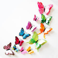 12pcs lot layer 3d rainbow butterfly wall stickers