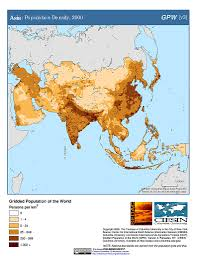East And Southeast Asia Map by Maps Population Density Grid V3 Sedac