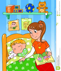 Bedroom Cartoon Child At Bed With Mom Stock Image Image 24833151