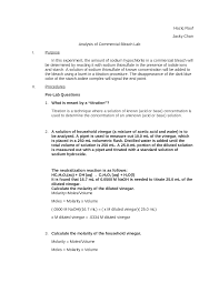 analysis of commercial bleach lab documents