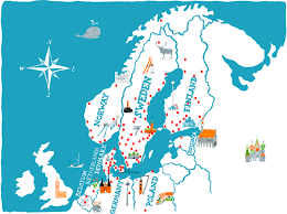 Scandinavia Blank Map by Annika Huett Illustration Agent Molly U0026 Co Maps Pinterest
