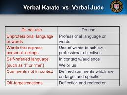 professional objectives verbal judo u2026and the gentle art of persuasion tactical language
