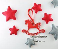 set 4 rustic wooden rocking ornament by sweetchildhood