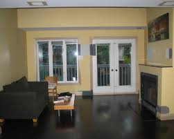 Granite Tile Fireplace Surround Beige Stain Wall Features Black Stain Wooden Floor And Red