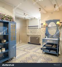 rustic provence spanish mediterranean bathroom wc stock