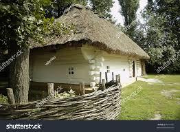 european style houses europeanstyle house straw roof stock photo 4241995