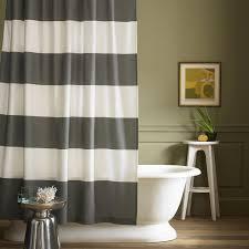 Horizontal Stripe Curtains Minimalist Bathroom With West Elm Stripe Shower Curtain And Grey