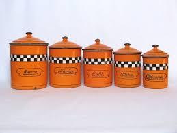 28 orange kitchen canisters vintage mod orange ceramic orange kitchen canisters orange enamelware 5 piece vintage french canister set
