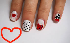 diy nail art heart nail art easy nail design youtube
