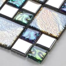 iridescent mosaic tile plated crystal glass backsplash kitchen designs