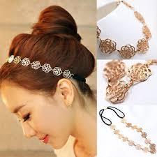 elastic hair band hairstyles womens fashion metal chain jewelry hollow rose flower elastic hair