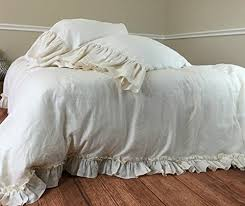 cream duvet cover in vintage ruffle style linen ruffle bedding