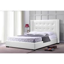 baxton studio favela white faux leather modern bed with