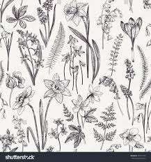 vintage seamless floral pattern spring flowers stock illustration