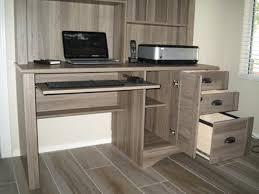 Fully Assembled Computer Desks by Sauder Harbor View Computer Desk With Hutch Salt Oak Walmart Com