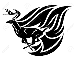 running deer tribal style black and white vector design royalty