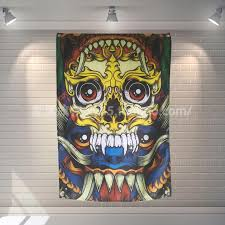 colorful skull tattoo tapestry poster banners paintings clubhouse