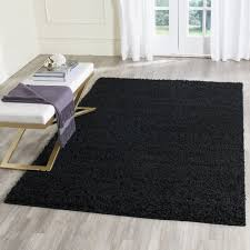 Solid Black Area Rugs Safavieh Athens Shag Black Area Rug 5 1 X 7 6 Sga119k 5