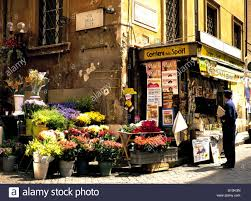 shop italy flower shop in the corner rome italy stock photo royalty