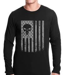 American Flag Hoodies For Men Usa American Flag Military Skull Thermal Shirt