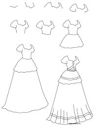 coloring pages graceful easy clothes to draw dress drawing how