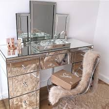 Glass Makeup Vanity Table Bedroom Surprising Mirrored Makeup Vanity Marvellous Silver