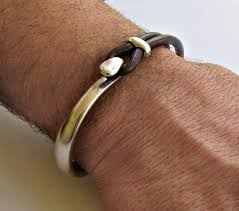 leather with silver bracelet images Mens sterling silver 925 bracelet leather black brown mens jpg