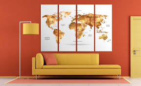 World Map Canvas Large Gold World Map Canvas Print Set Geometric Gold Map Of The
