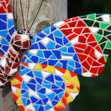 multi coloured mosaic butterfly garden wall ornament