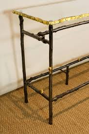 glass and metal console table unusual french glass top faux twig console table with gilt bronze