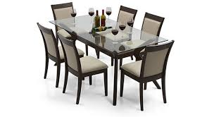 6 seater dining table and chairs wesley dalla 6 seater dining table set dark walnut and dining