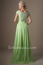 light green dress with sleeves modest a line cap sleeve light green chiffon beaded long prom dress