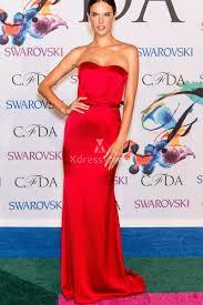 alessandra ambrosio simple strapless sheath cheap red satin dress