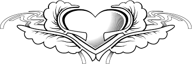 working page of a heart tattoo love design for kids coloring point