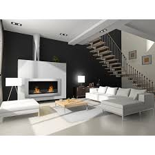 interior wall mount ethanol fireplace combine with white leather