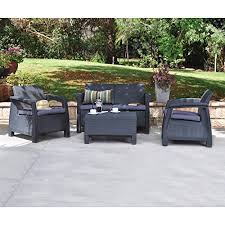 Tiki Outdoor Furniture by Keter Corfu 4 Piece Set All Weather Outdoor Patio Garden Furniture