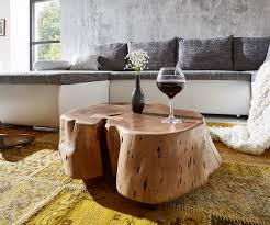 Wohnzimmer Tisch Wohnzimmertisch Live Edge Akazie Natur Xl Baumstamm Rollbar Couchtisch