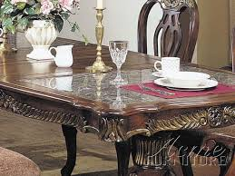 acme furniture acme 07639a marble top double pedestal dining table set