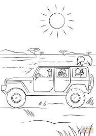 safari jeep cartoon safari coloring pages diaet me