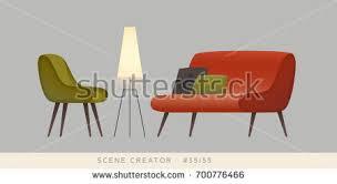 Armchair Sofa Chair Sofa Lamp Isolated Vector Objects Stock Vector 700776439