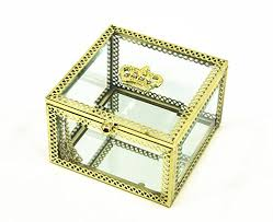 necklace earring display box images Classical crown themed plated copper glass square jewelry display jpg