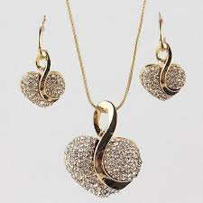 jewellery necklace earring sets images 18k gold filled shine austrian crystal heart shape atperrys jpg
