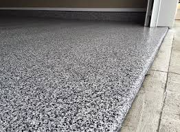modern epoxy flooring paint ideas for garages with black and grey