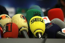 Football Conference Table Kyiv Ukraine December 8 2009 Microphones On A Table During