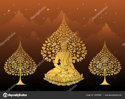 buddha and bodhi tree gold color of tradition vesak day stock
