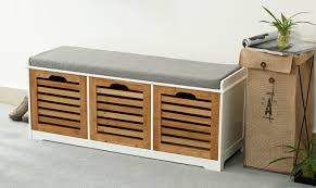 orolay storage bench with 3 crates shoe cabinet soft seat cushion