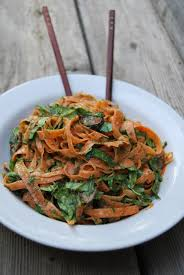 carrot ribbon pasta bowl with coconut almond satay liver cleanse