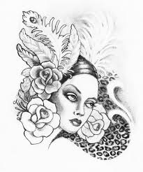 woman roses leopard print drawing by kimelizondo on deviantart