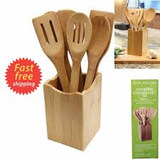 Bamboo Silverware Holder Wooden Cooking Kitchen Set 7 Piece Utensil Spoon Bamboo Tools