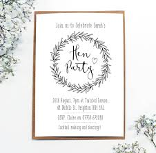 personalised u0027hen party u0027 wreath invitations by precious little